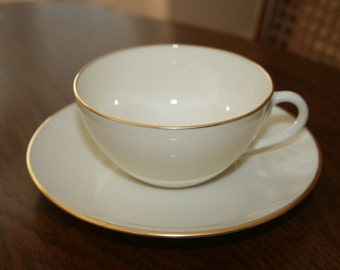Vintage Lenox Gold Olympia Cup and Saucer Cream Gold (Four Available)