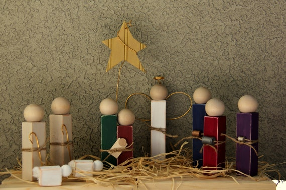 Simple Distressed Wooden Nativity Set