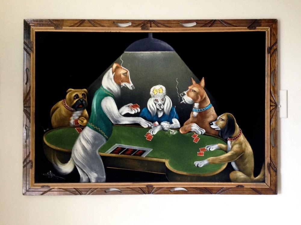 Large Dogs Playing Poker Black Velvet Painting Vintage 1970s