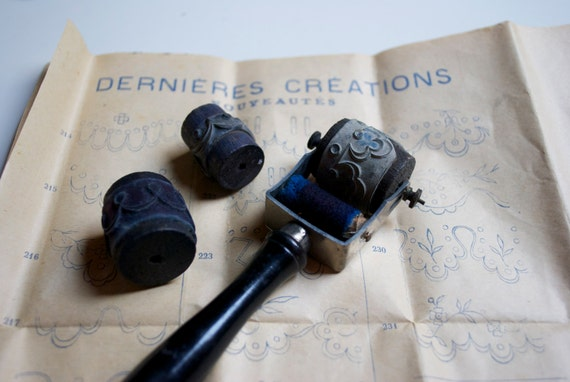 Vintage french embroidery rubber stamps - roller stamp set