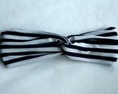 Navy and White Stripe Stretch Turban Wrap Headband