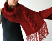 Knit Scarf in Red with Fringes- Cable Knit Pattern Wrap - Fall Winter Fashion - Women Teens Accessories