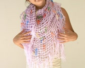 Fishnet Shawl in Lilac with Fringes -  Purple Wrap - Pastel Fall Spring Summer Fashion - Women Accessories -  Gift for Mother