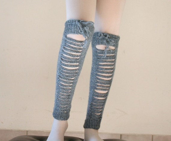 Torn  Leg Warmers Knit in Blue and Creme - Boot Socks - Spring Fall Winter  Fashion - Women Teens Accessories