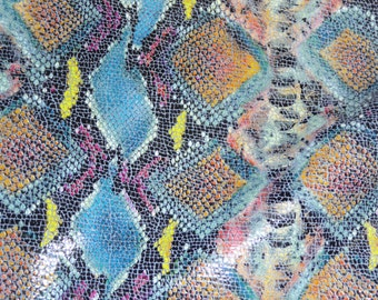 Precut Leather 9 sq ft Shiny BLUE Tropical Python Multicolored Snake embossed Cowhide #PA 2.75-3 oz /1.1-1.2 mm PeggySueAlso™ E2050-01