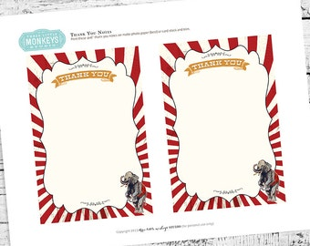 Circus Carnival Party Thank You Note. Instant Download!