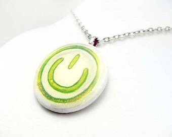 Sale: Video Game Necklace, Power Button Symbol, Glow in the Dark Pendant, Hand Painted Art Resin Jewelry, Geekery Accessory, White and Green
