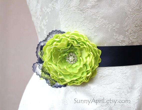 Lime Green Navy Blue Flower Wedding Ribbon Sash/  Handmade Accessory/ Free Shipping on Additional Items
