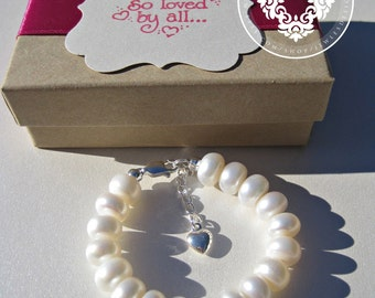 Infant Jewelry, Freshwater Pearls bracelet,Baptism, christening, baby shower gift, baby girl Jewellery .