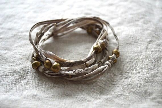Kanae Taupe Necklace. Wrap Bracelet. Textile Jewelry. Layering Necklace. Braided Bracelet. Fiber Jewelry. One of a Kind. Beaded Bracelet.