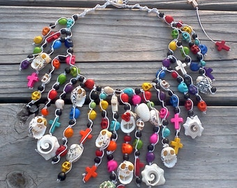 Howlite Skulls and Crosses and Seashells macrame necklace  -  Day of the Dead, OOAK, Frida Kahlo inspired.