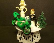 Motorcycle HONDA NR Green Street Bike or your Bike Bride and Groom Funny Bike Wedding Cake Topper
