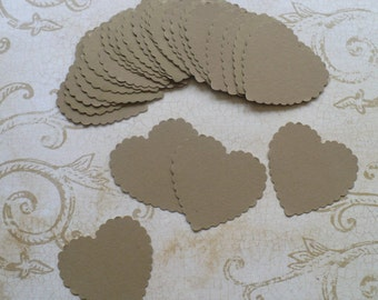 50 Kraft Scallop Heart Punchies / Shapes made using Cardstock for Wedding Tags Crafts Cards