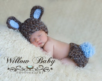 READY TO SHIP Baby Boy Hat - Baby Bunny Hat & Diaper Cover Chunky Browns and Blue Shades