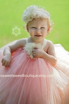 Peach flower girl dress baby flower girl tutu dress sweet peach