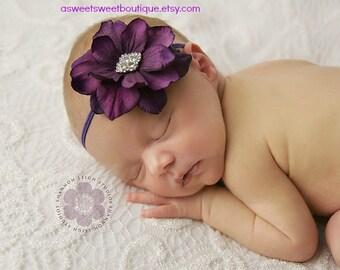 Newborn Headband Sweet Wild Orchid Flower Headband With Rhinestone Embellishment Vintage Style Newborn Photo Prop