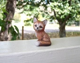 Fox, miniature ceramic fox