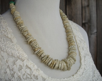 White Howlite and Turquoise Beaded Necklace, Antique Afghan Filigree Chain, Ethnic, Rustic, Statement Necklace