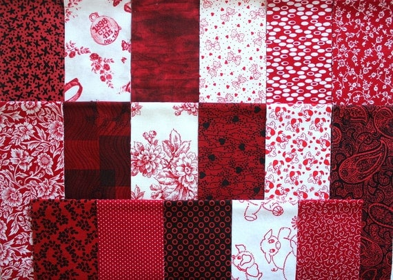 Jelly Roll 24 Quilting Fabric Strips Red White Black Mix