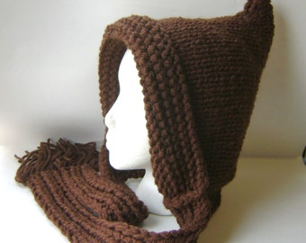 Hand Knit Hat, Elfin Hood in Chocolate Brown Wool Blend, Soft and Warm