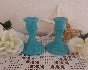 Blue Candle Holder Set Rustic Aqua Turquoise Teal Blue Shabby Chic Taper Beach Cottage Coastal Seashore Home Decor Wedding Decoration