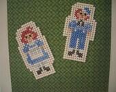 Cross Stitch Raggedy Ann & Andy Doll Birthday Card