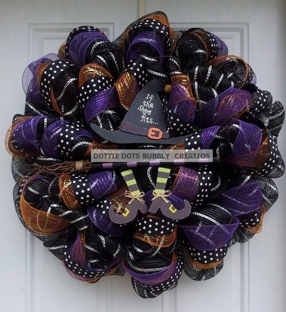 If The Shoe Fits Witch Black & Silver Striped Mesh Halloween Wreath