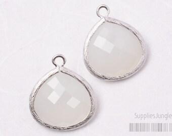 F102-02-MR-WH// Matt Original Rhodium Plated Framed Frosted White Glass Stone Pendant, 2Pc