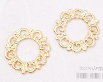 P414-MG// Matt Gold Plated Lace Pendant, 4Pcs