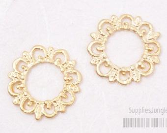 P414-MG// Matt Gold Plated Lace Pendant, 4pcs