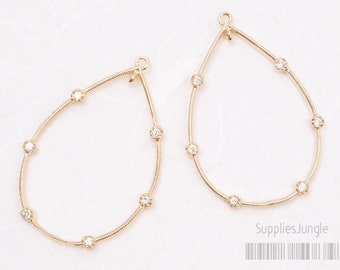 P418-G// Glossy Gold Plated Cz Teardrop Pendant, 1 pc