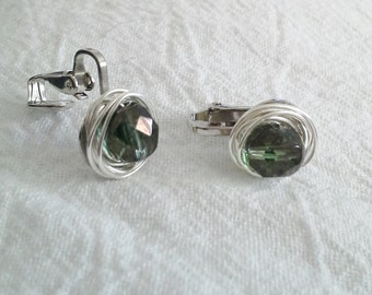 Green Wire Wrapped Clip On  Earrings