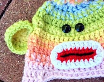 Rainbow Sock Monkey Hat