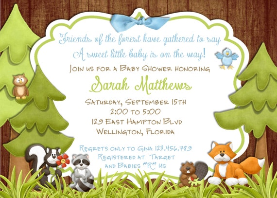 Rustic Forest  Animals Baby Shower Invitation