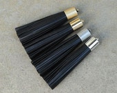 Black Leather TASSEL in  16mm Gold, Silver, Antique Silver or Antique Brass Plated Cap- Pick your tassel cap