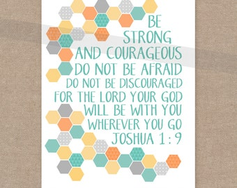 "INSTANT DOWNLOAD Boy's Room Scripture Print - Joshua 1:9 ""Strong and Courageous"" yellow, aqua, orange, gray 8x10 bible verse wall art decor"