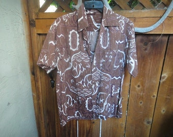 Surf & Sand Vintage Aloha shirt Angelfish design tag removed could be a Shaheen