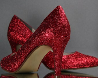 Wedding Shoes -- Red Glitter Wedding Shoes