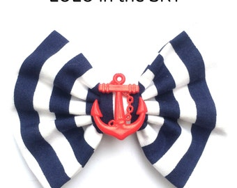 Navy blue & white stripe nautical sailor Hair Bow clip with red anchor Rockabilly Pin up