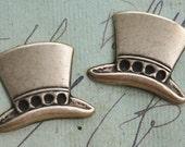 TWO teenie Steampunk top hats, brass ox