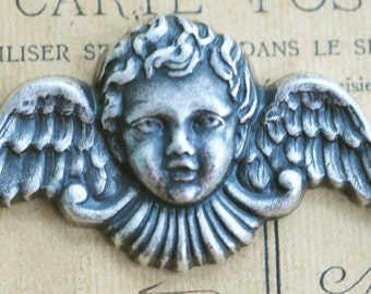 Neo Victorian Angel Brass Stamping, Sterling Silver Finish