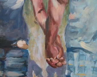Holding Hands, romantic art, romance, couple in love, 16x20 original painting canvas, acrylic, boy and girl, love painting, clasped hands