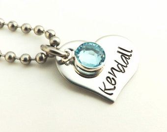 Hand Stamped Childrens Necklace- Stainless Steel Heart with Swarovski Crystal Birthstone, Name Necklace, Flower Girl