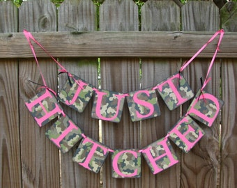Camo Wedding Banner, Just Hitched Banner, Camo Bride To Be, Camouflage  Wedding Decor
