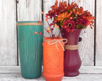 Shabby Chic Colorful Vase Set