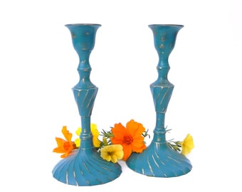 Shabby Chic Teal/Turquoise Painted Brass Candlesticks, Table Centerpiece, Fall Table Decor, Upcycled Brass Candlesticks