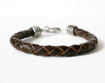 brown braided leather cuff, mens leather bracelet, unisex cuff, initial charm bracelet, stacking bracelet, gift for him, gift for her