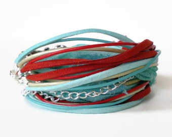 bohemian wrap bracelet, turquoise red cuff bracelet, multistrand wrap bracelet, triple wrap bracelet, wraparound endless cuff, gift for her