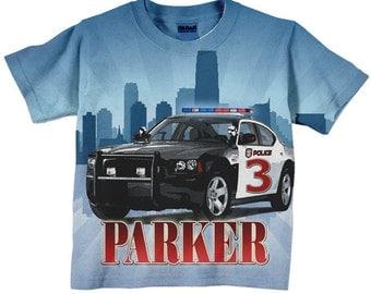 Police Car Shirt, Personalized Boys Policeman Birthday T-Shirt, Number Shirt