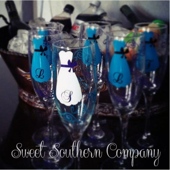 4 Personalized Bridesmaid Champagne Flutes with Strapless Gown